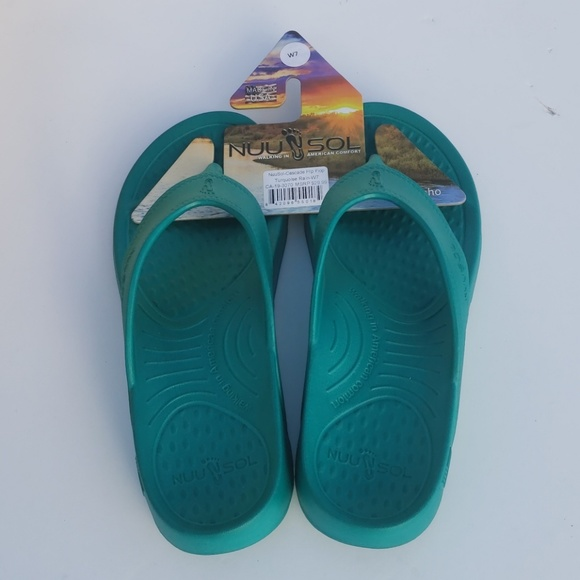 589cb3ee5 NuuSol FLIP FLOPS Women s 7 New Turquoise color